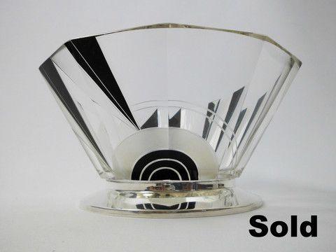 Centerpiece Karl Palda Black Enamel Etched Crystal bowl with Sterling – ARTDECOSHOPPING
