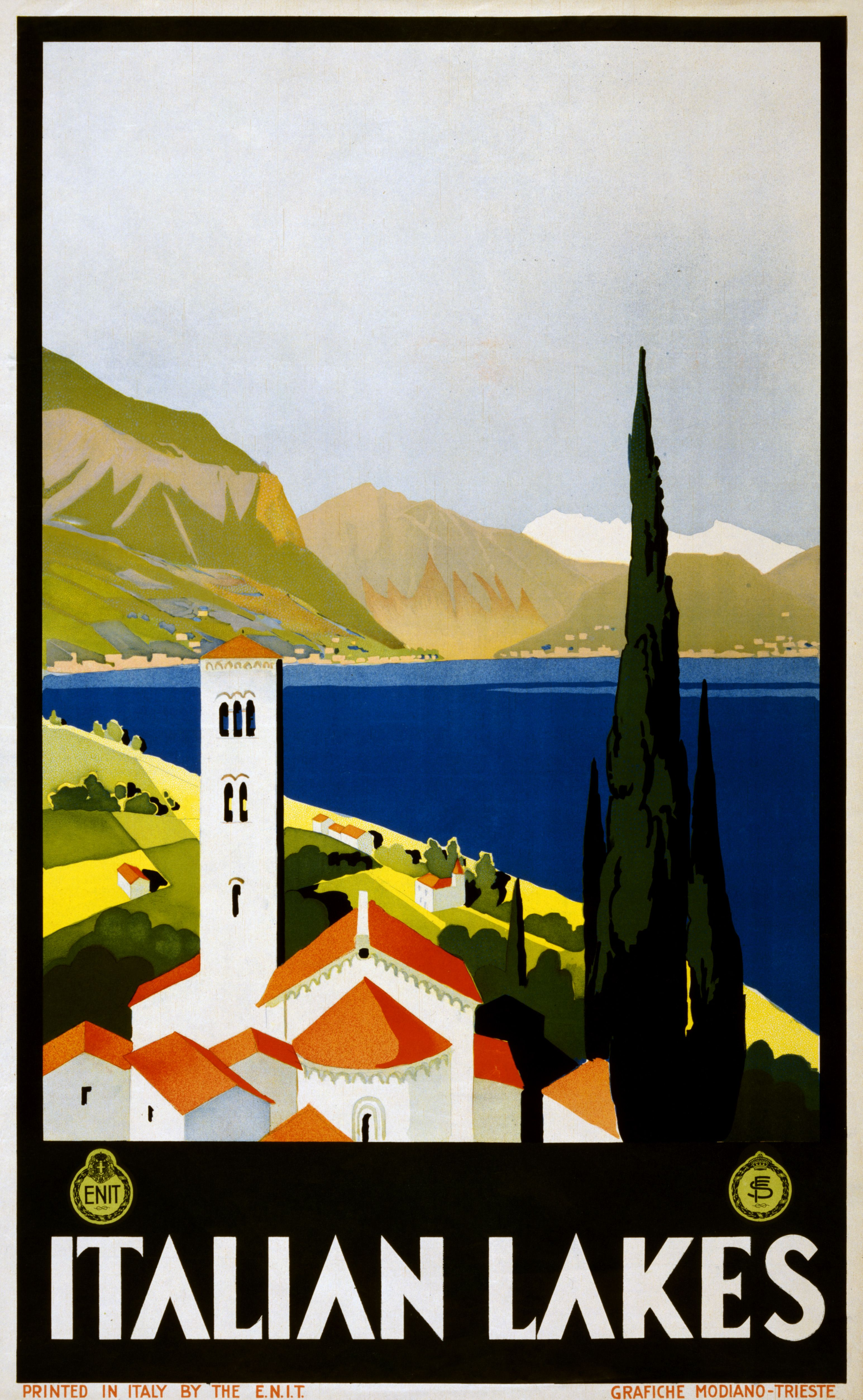 "Home Wall Art A2 Size Reproduction Vintage Italian /""Italia/"" Poster"
