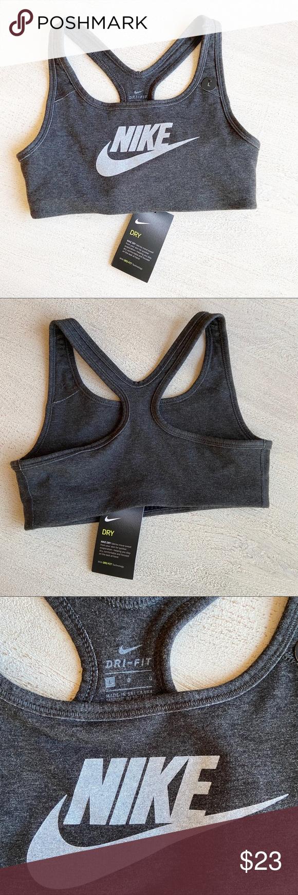 NIKE NEW Girls Dry Fit Grey Bra Nike Girls Grey Dry Fit Bra  – NWT – size large …