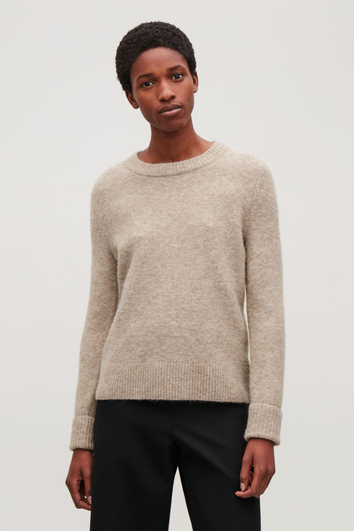 f22975c5e5c Model side image of Cos alpaca and wool jumper in brown | Current ...