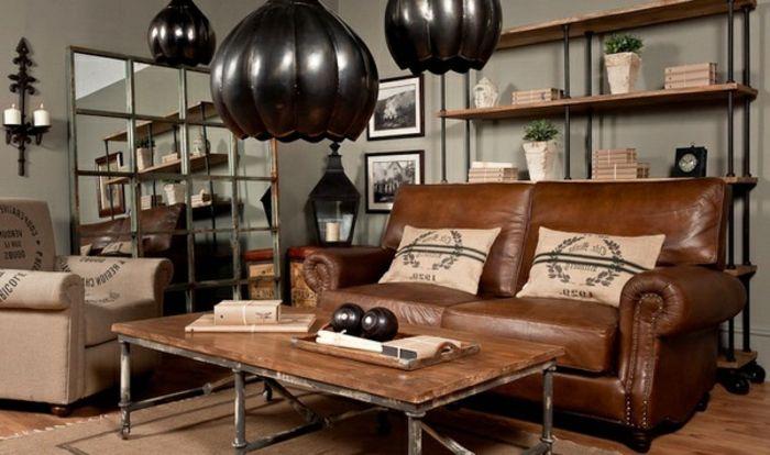 6industrial Mbel Wohnzimmer Ledercouch Braun Tisch Massivholz Metallbeine Regal Holz Metall Rollen