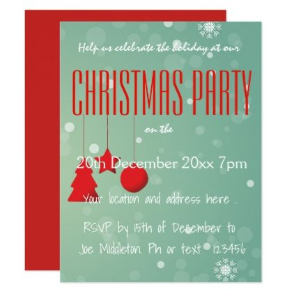 Customise your Christmas/Holiday party invitation Card - diy cyo