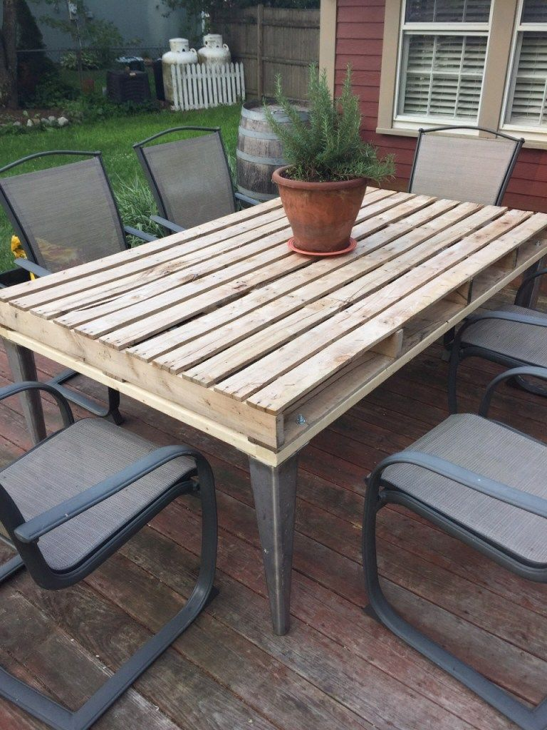Awesome Wooden Pallet Kitchen Table (With images) | Pallet ...