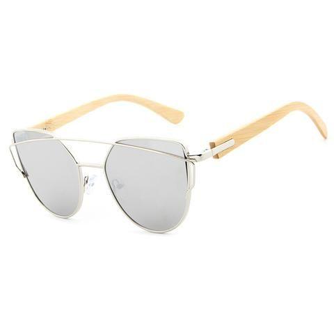 e6c7b5c1a5 Women s Fashion Mirror Cat Eye Wooden Sunglasses - Black Red