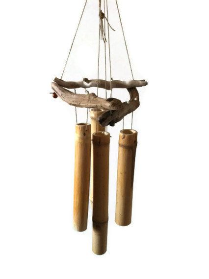 4 Sticks Bamboo Wind Chime with Drift Wood for by patsytroxell, $30.00