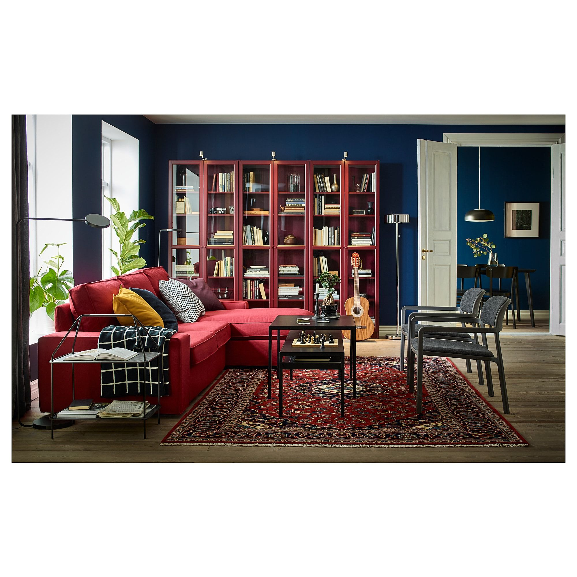 Billy Dark Red Bookcase With Glass Doors 80x30x202 Cm Ikea Bookcase With Glass Doors Glass Cabinet Doors Red Bookcase