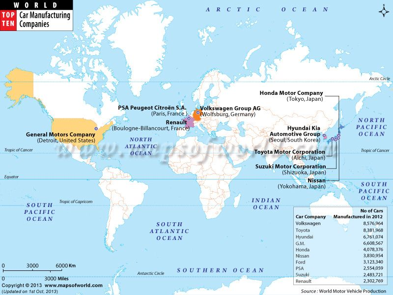 World Map Top Ten Car Manufacturing Companies
