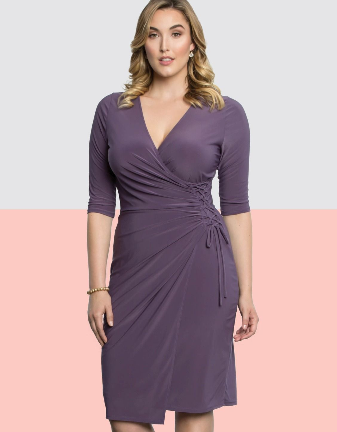 Vixen Faux-Wrap Side Lacing Plus Size Mother of the Bride dress by ...