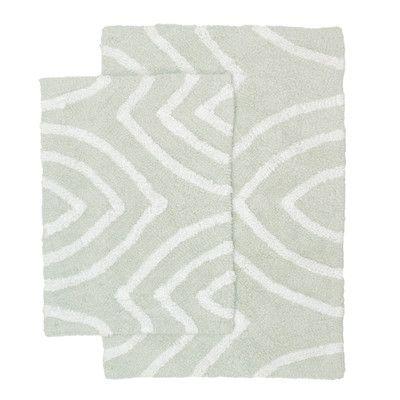 Homewear Linens Leaf Tips 2 Piece Bath Rug Set Color Light Gray
