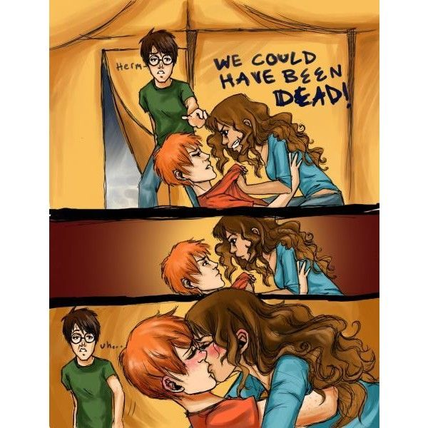 Ron and Hermione ❤ liked on Polyvore featuring harry potter