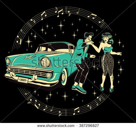 Teddyboy and a rockabilly pinup chick dancing in front of a hotrod