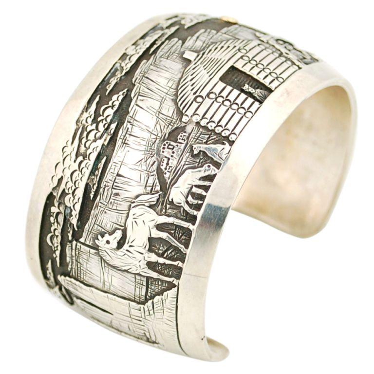 Hopi Navajo Collaborative Cuff Bracelet Silver 14K Gold 14k gold