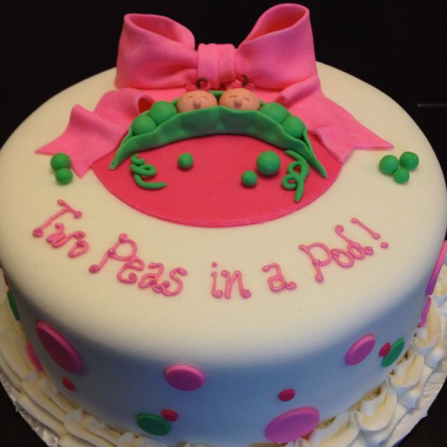 Baby Shower Cake For A Mom Expecting Twins...love The Pink And Green