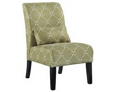 Contemporary Armless Accent Chair Olive Green Print