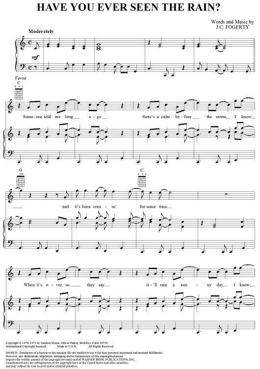 Have You Ever Seen The Rain - JC Fogerty #sheetmusic | Guitars ...