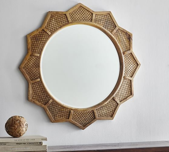 Sun Mirror Pottery Barn, Carved Wood 35 Round Mirror