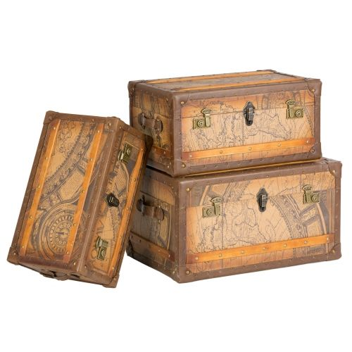 Antique Storage Trunks Leather Old Fashioned Display Set