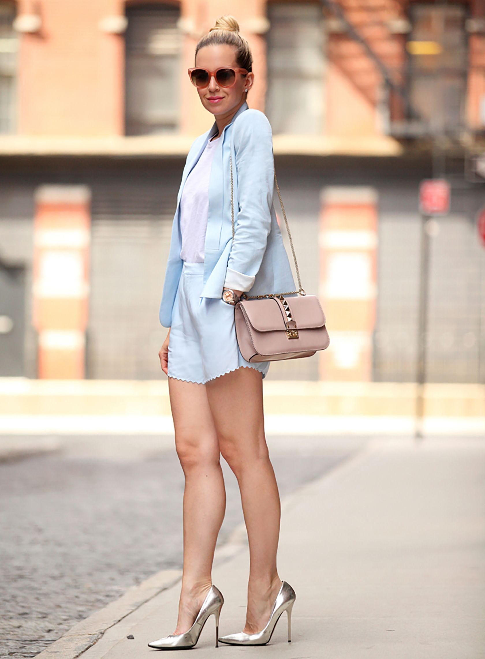 bf7ffb62e12ed Sydne Style shows how to wear pastel for spring from fashion blogger  brooklyn blonde in baby blue