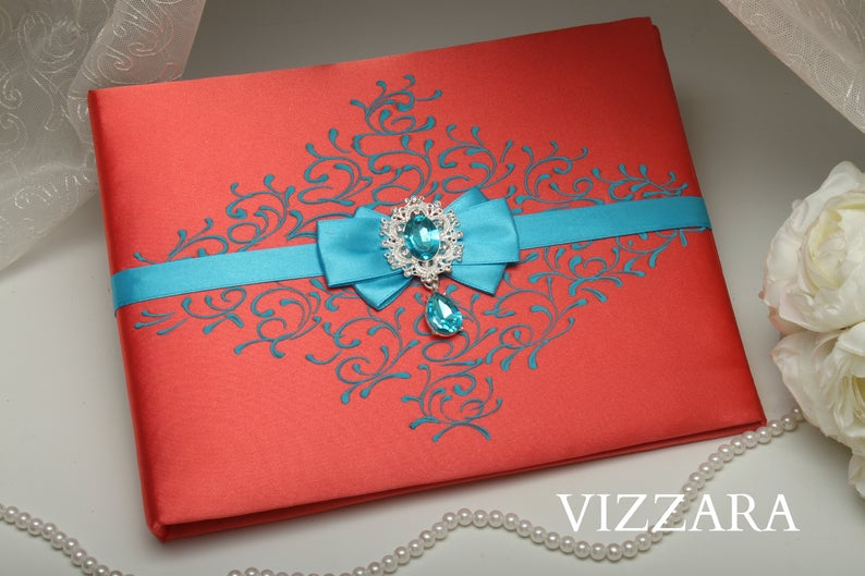 Wedding guest book alternatives Coral wedding Pens for wedding Coral and turquoise wedding Wedding guest book idea Coral weddings Turquoise