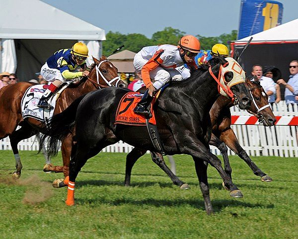 Ben's Cat with Julian Pimental wins the Jim McKay Turf Sprint, presented by Apple Ford