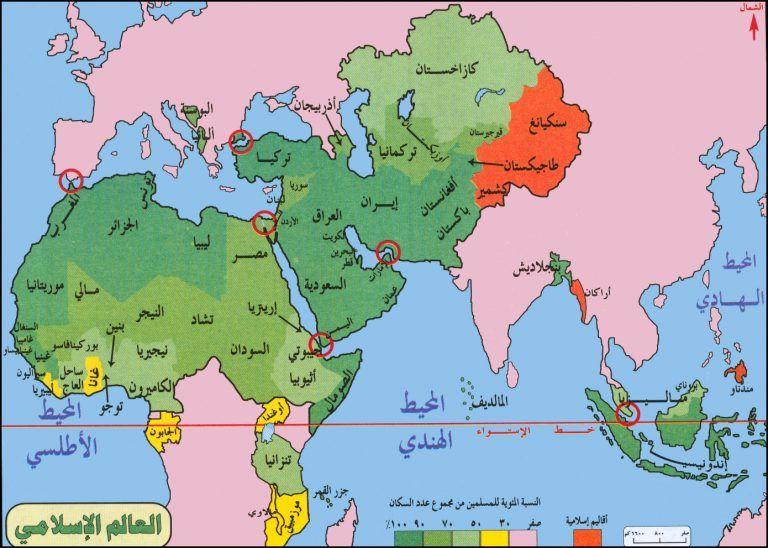 خريطة العالم الاسلامي صماء المرسال Map World Map Diagram