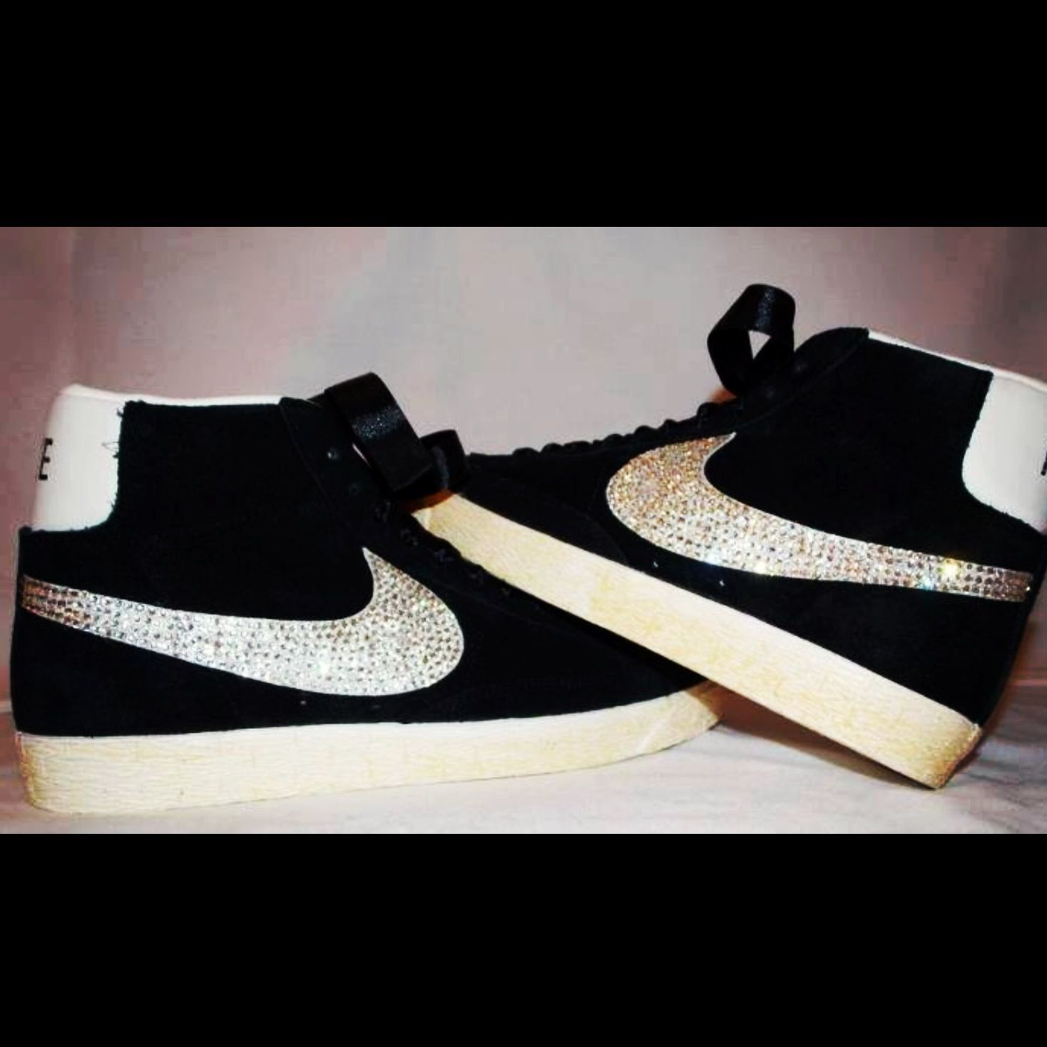 Customised nike blazer with Swarovski elements tick