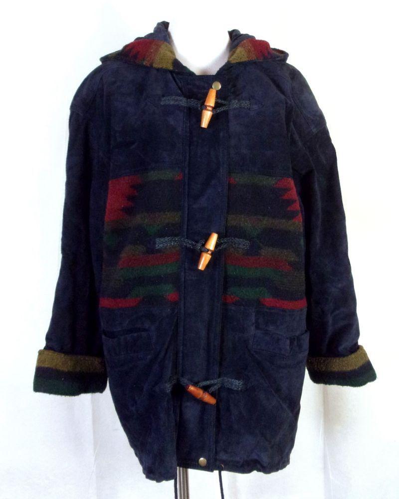 vtg s Braetan ladies Leather Fleece Southwest Jacket Aztec Hooded
