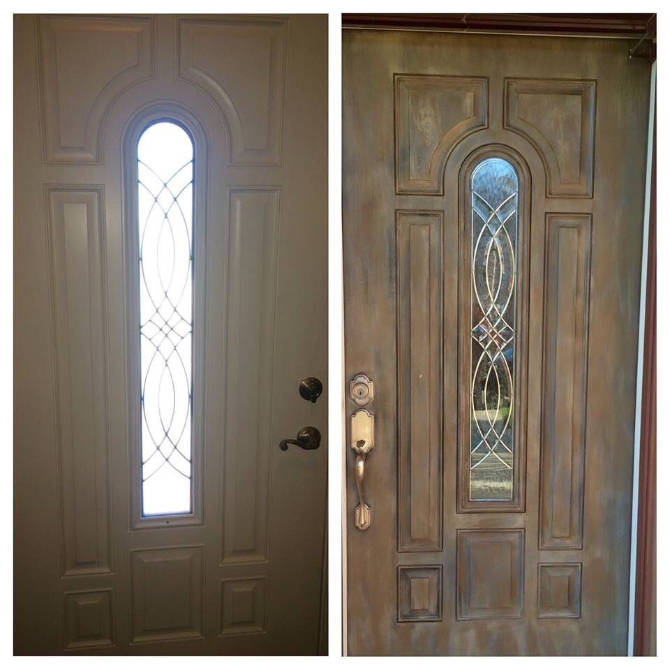 White metal front door made to look like aged wood with - How to paint a steel exterior door ...