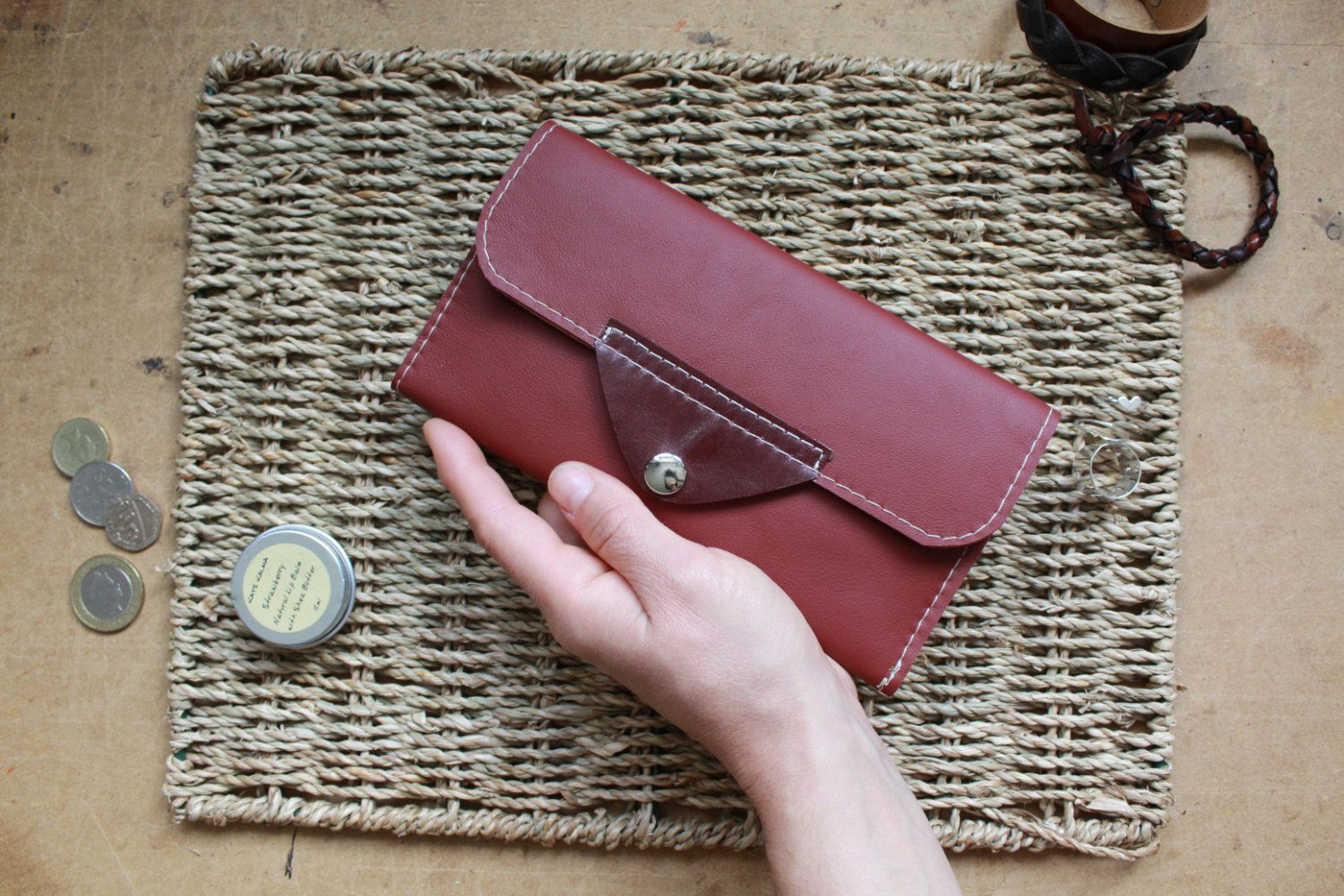 Handmade Leather Womens Wallet - Leather Coin Purse - Cards holder