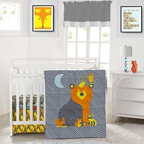 3pc gender neutral crib bed set soft microfiber bear forest animals gray orange · crib setscrib bedding