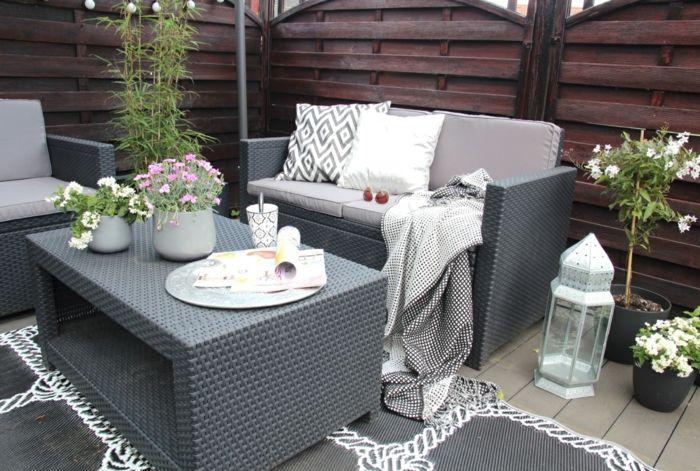 ikea gartenmöbel outdoor rattan grau sofa sessel couchtisch ...