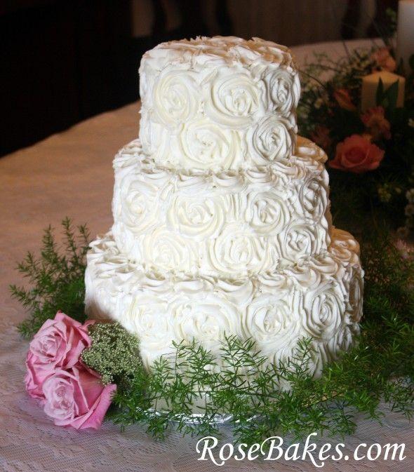 Simple Wedding Cake Design Buttercream : Buttercream Roses Wedding Cake with Pink Roses ...