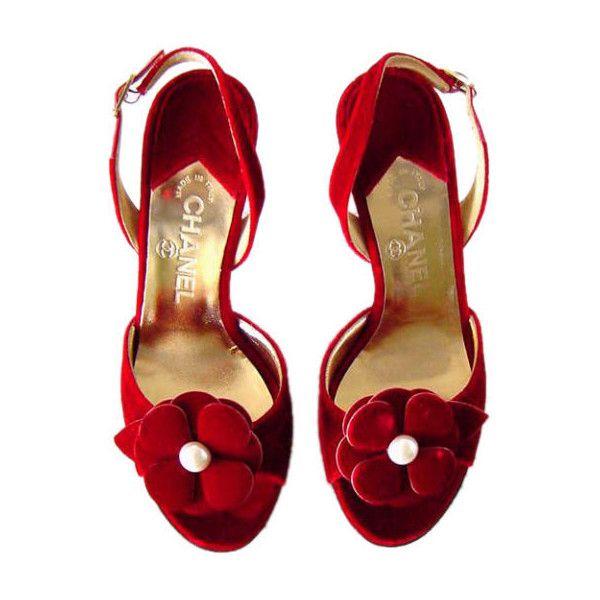CHANEL - CHANEL Shoe RED hot VELVET w' Camelia Flower  .. fashion.1stdibs.com