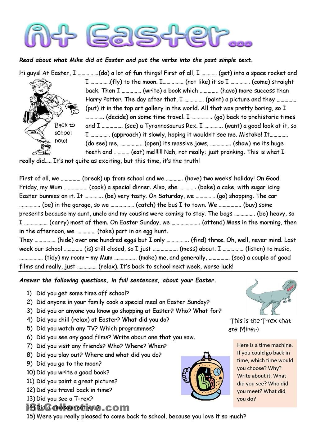 What Mike Did At Easter Learn English Words Reading Comprehension Lessons English Words [ 1440 x 1018 Pixel ]
