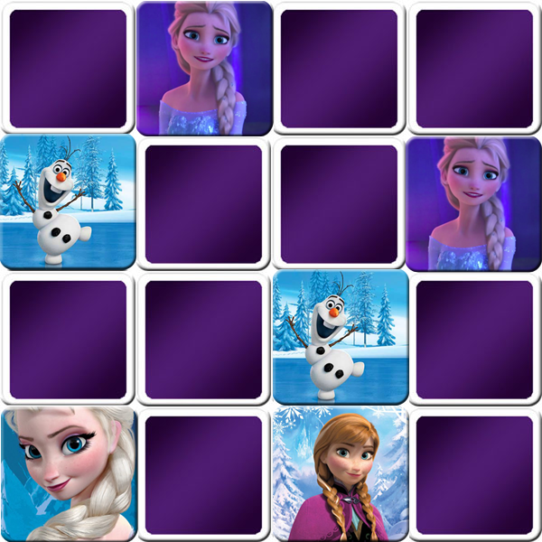 A great Frozen memory game especially for girls with many