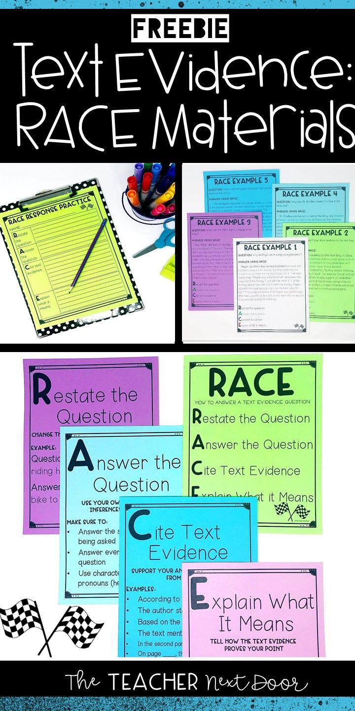 RACE Materials for Constructed Response | RACE for Text Evidence