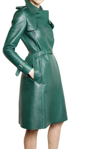 Women's Green Nappa Trench Coat Leather Jacket | Trench, Leather ...
