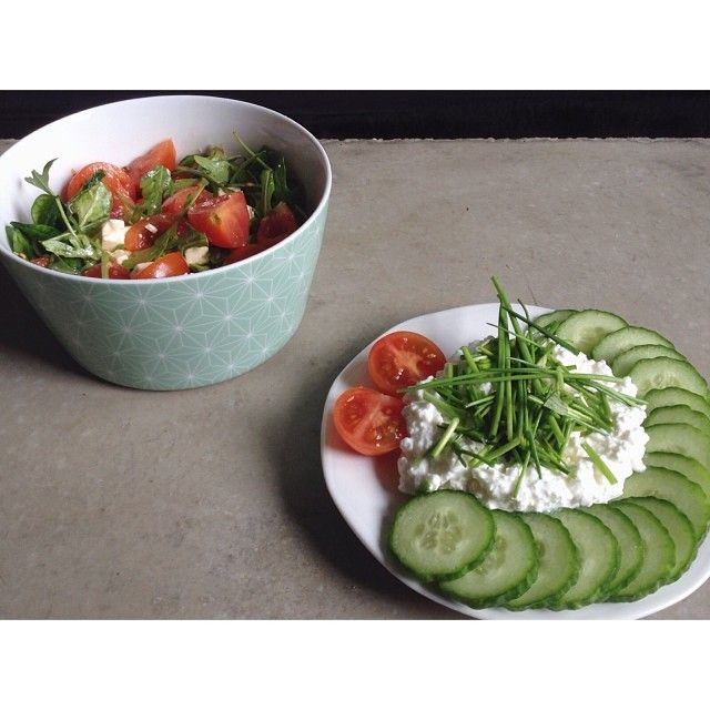 Tomato Ruccola Salad with Feta and a good Olive oil   Cottage Cheese, Cucumber and chives. #Padgram