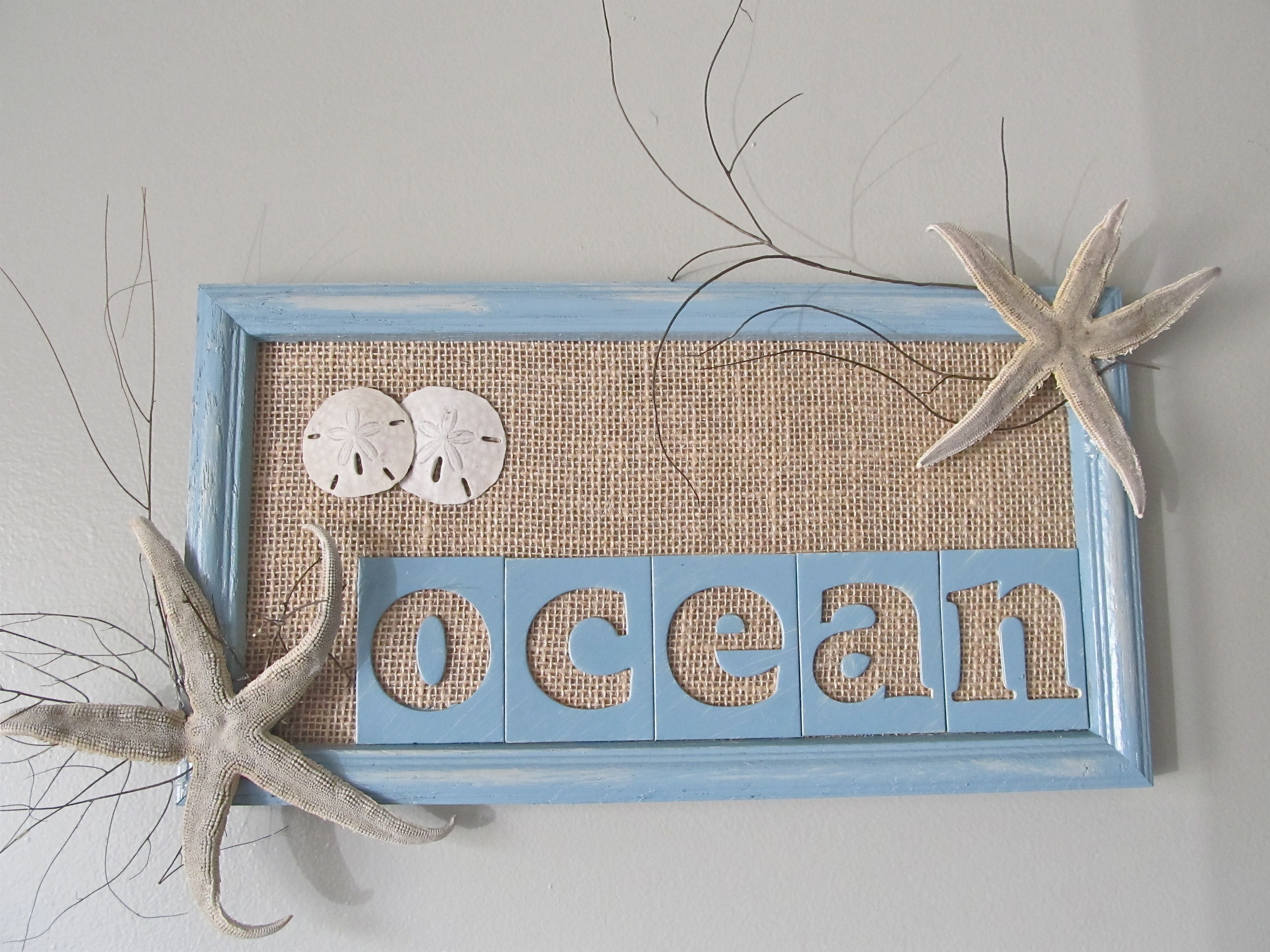 DIY Beach Decor: 1) I painted this old frame and \