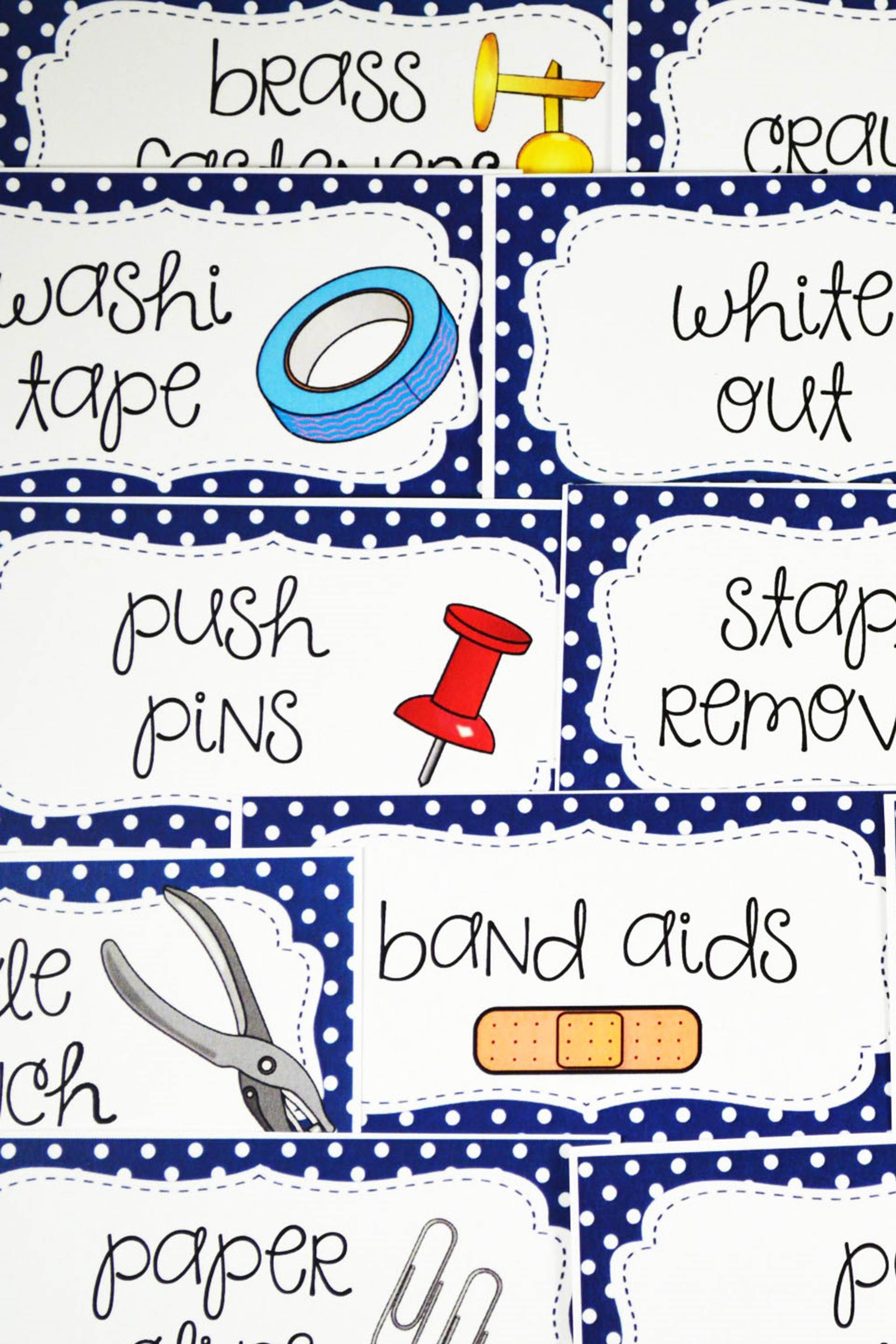 Editable Teacher Toolbox Labels with Clip Art - Navy ...