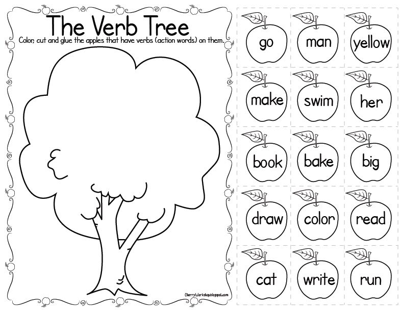 Printable Worksheets tally mark worksheets for first grade : The Noun Tree - cut and paste the apples with nouns MATH & ELA ...