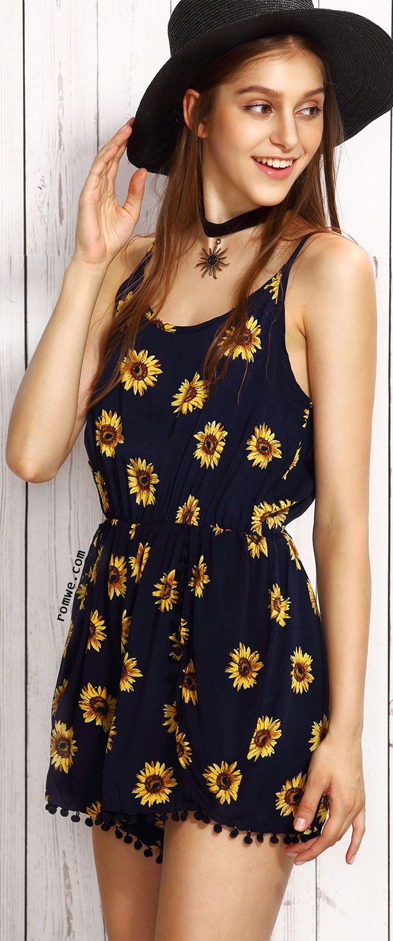 58d46b0ec428 Navy Sunflower Print Pom Pom Trim Cami Romper | Clothes | Summer ...