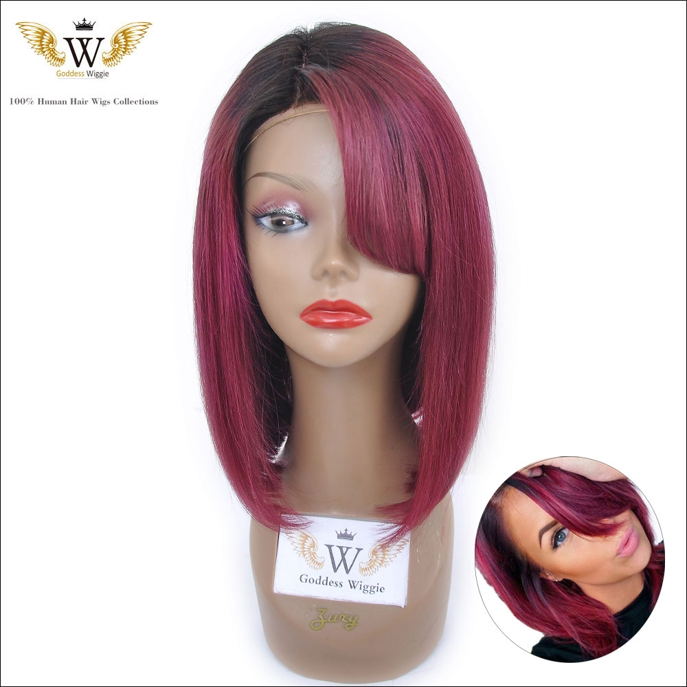 175.50$  Watch now - http://ali5g0.worldwells.pw/go.php?t=32409830307 - 5A 150Density  Remi Hair Full Lace Human Hair Burgundy Short Bob Cut Wig With Bangs Glueless Red Ombre Lace Front Wig