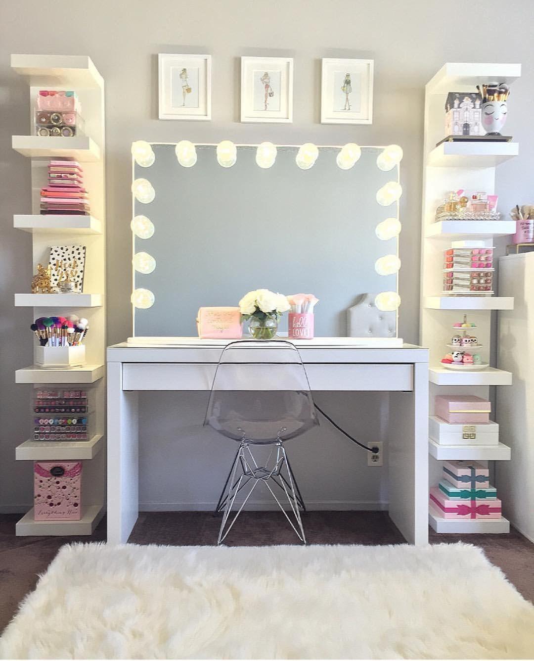 Pingl Par Krnmdbyul2 Sur Makeup Organization Pinterest  # Table Coiffeuse Pour Chambre