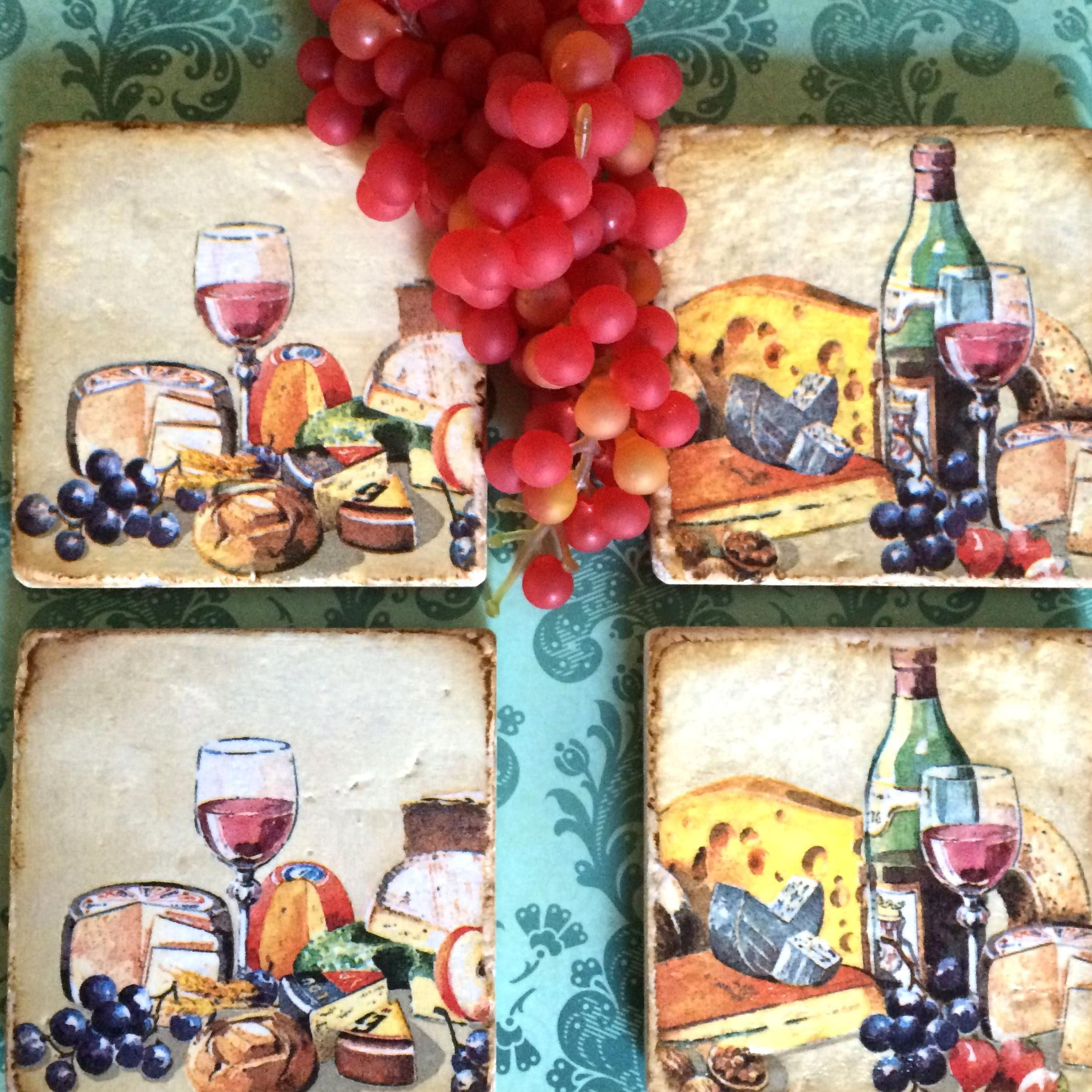 Wine And Cheese Decoupage Tile Coasters Foreverdecoupageetsy In 2020 Stone Coasters Hand Decorated Coasters