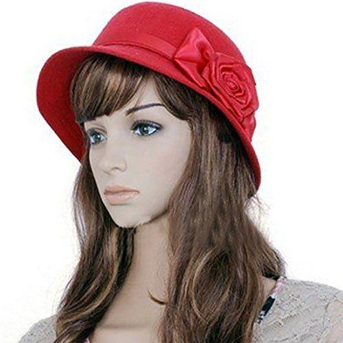 7c1becf0c13 Welen Women Flower Rose Fedora Hat Cloche Bucket Floppy Cap Sun Headwear  Brim