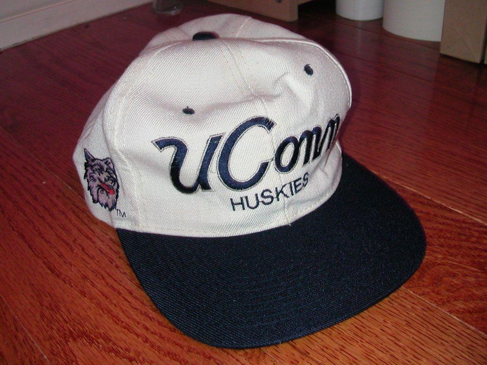 64f66c0e1cb Vintage UCONN Huskies Script Sports Specialties Wool Snapback rare NCAA hat  University Of Connecticut
