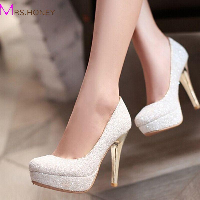 Glitter Lady Spring Dress Shoes Stiletto Heel Platforms White Gold Wedding Sparkling Nightclub Party