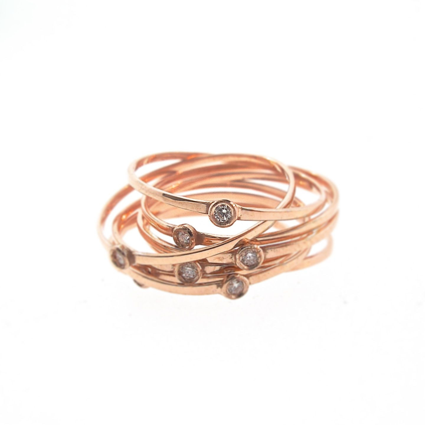 Extra Thin Bands With Diamonds By Phoenix Roze