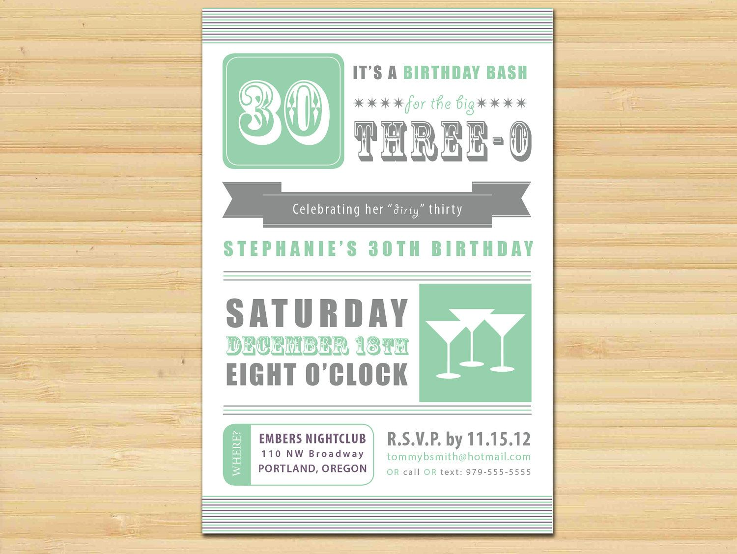 Hubbys 30th Birthday Invite Ideas